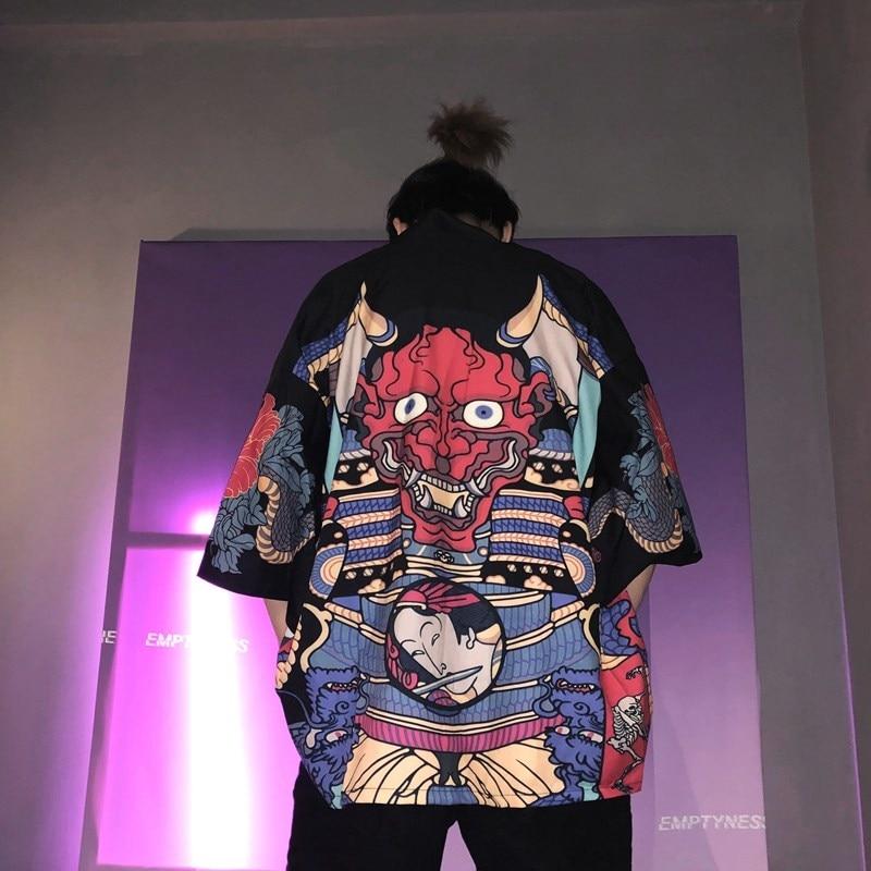 Kimono Men Japanese Kimono Traditional male kimono cardigan men harajuku streetwear samurai costume yukata male haori obi FF001A(China)