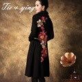 Черный/синий трикотажные платья для женщин 2015 зима элегантный высокое качество пульс размер длинным рукавом вышитые бисером платье M-5XL