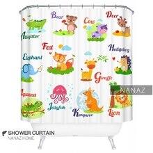 nanaz home advanced creative shower curtain polyester curtain preschool education cartoon alphabet