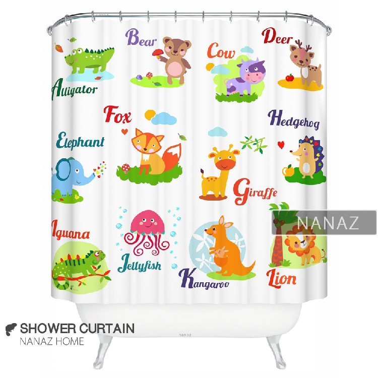 [NANAZ Home] Advanced Creative Shower Curtain Polyester Curtain   Preschool  Education Cartoon Alphabet (