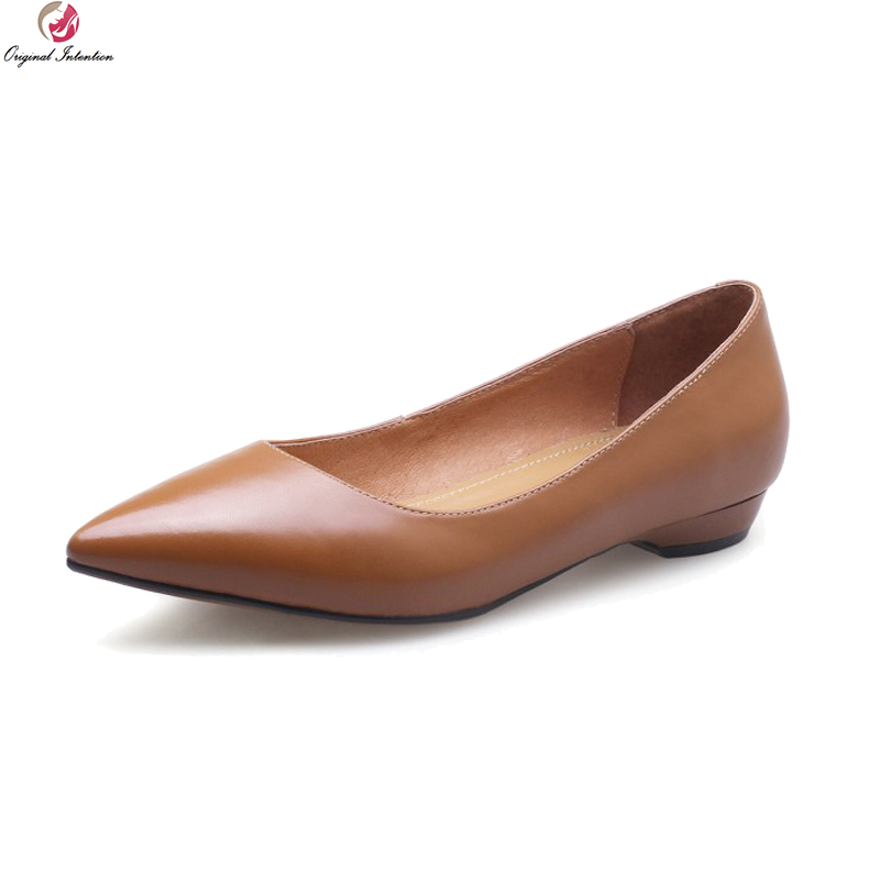 Original Intention New Concise Women Flats Cow Leather Stylish Pointed Toe Flat Shoes Nice Beige Brown Shoes Woman US Size 3-9 pu pointed toe flats with eyelet strap