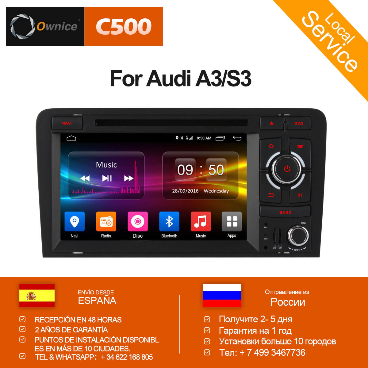 Ownice C500 Octa Core 4G SIM LTE Android 6.0 2 Din 7 Car DVD Player For Audi A3 S3 2004-2011 Radio GPS Navi BT 2GB RAM 32GB ROM ownice c500 4g sim lte octa 8 core android 6 0 for kia ceed 2013 2015 car dvd player gps navi radio wifi 4g bt 2gb ram 32g rom