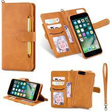Flip Case Voor Iphone 7 8 Plus Luxe Afneembare Lederen Portemonnee Telefoon Gevallen Magneet Cover Voor Iphone 11 Pro 8 plus 7Plus Xs Xr X