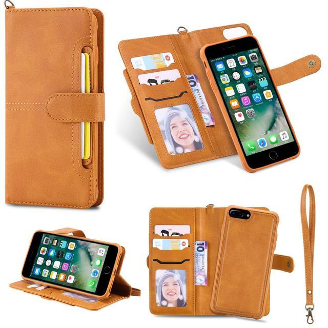 Funda abatible de cuero desmontable para iPhone, protector con imán para teléfono móvil iPhone 11 Pro 8 Plus 7Plus XS XR X