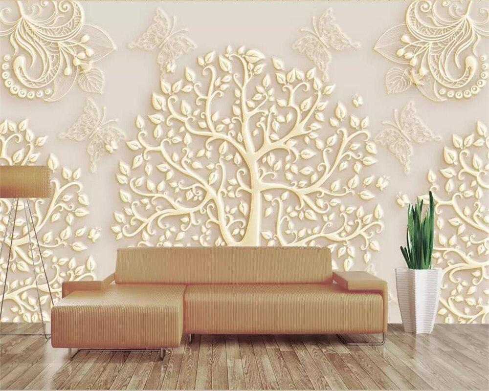 Beibehang Custom Wallpaper 3d Mural European Pattern Tree Bird Butterfly Living Room TV Background Wall Paper Restaurant Murals