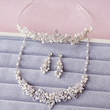 Generous Silver Handmade Rhinestone Pearl Bridal Jewelry Sets Wedding Tiara Necklace Earrings Women Accessories