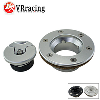 VR RACING Aluminum Billet Fuel Cell / Fuel Surge Tank Cap Flush Mount 6 bolt Mirror Polished Opening ID 35.5mm VR SLYXG01