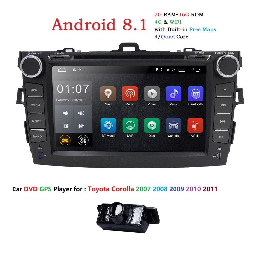 Android8.1 lecteur dvd de voiture Pour Toyota corolla 2007 2008 2009 2010 2011 en dash 2 din 1024*600 de voiture radio gps vidéo tête unité 2 GRAM