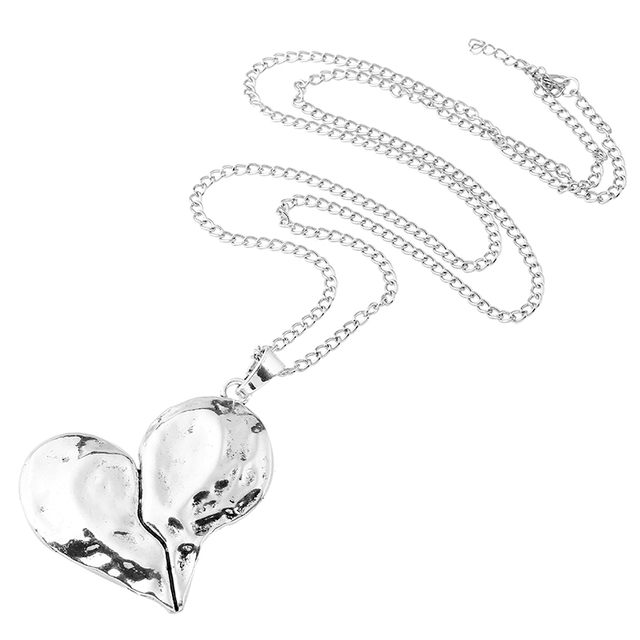 1 Pcs Lagenlook Necklace Antique sliver Tone Statement Abstract Metal Large Heart Pendant Long Curb Leather/Link Chain Necklaces 4