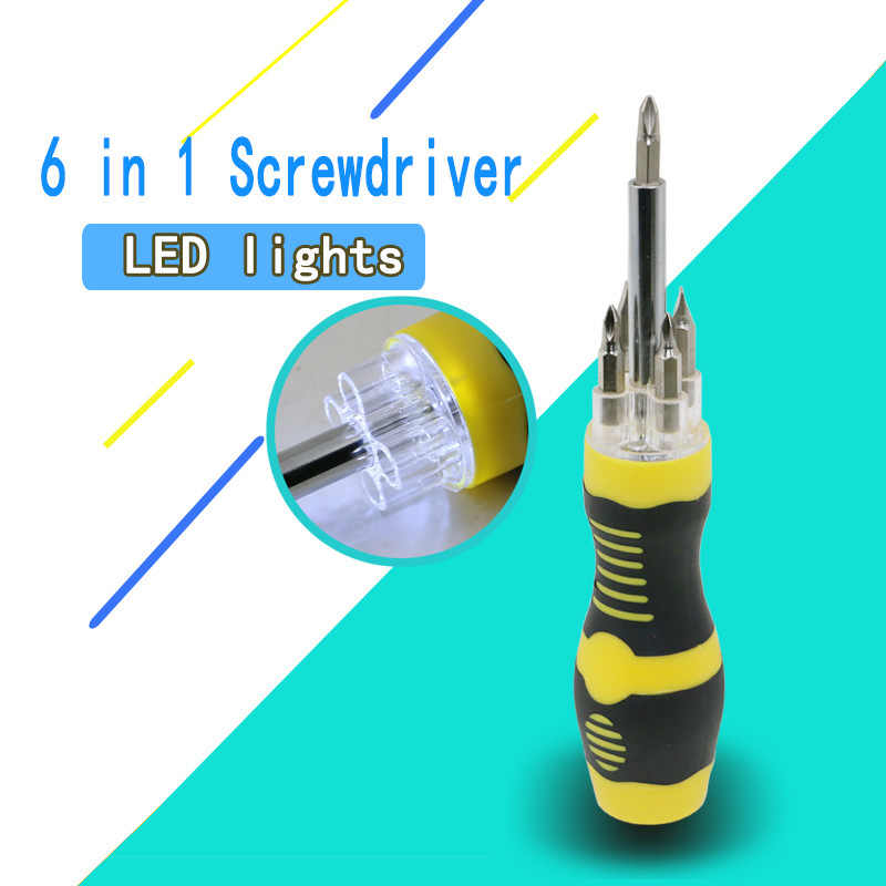 High quality 6PCS screwdriver set multi-function   manual maintenance  LED light