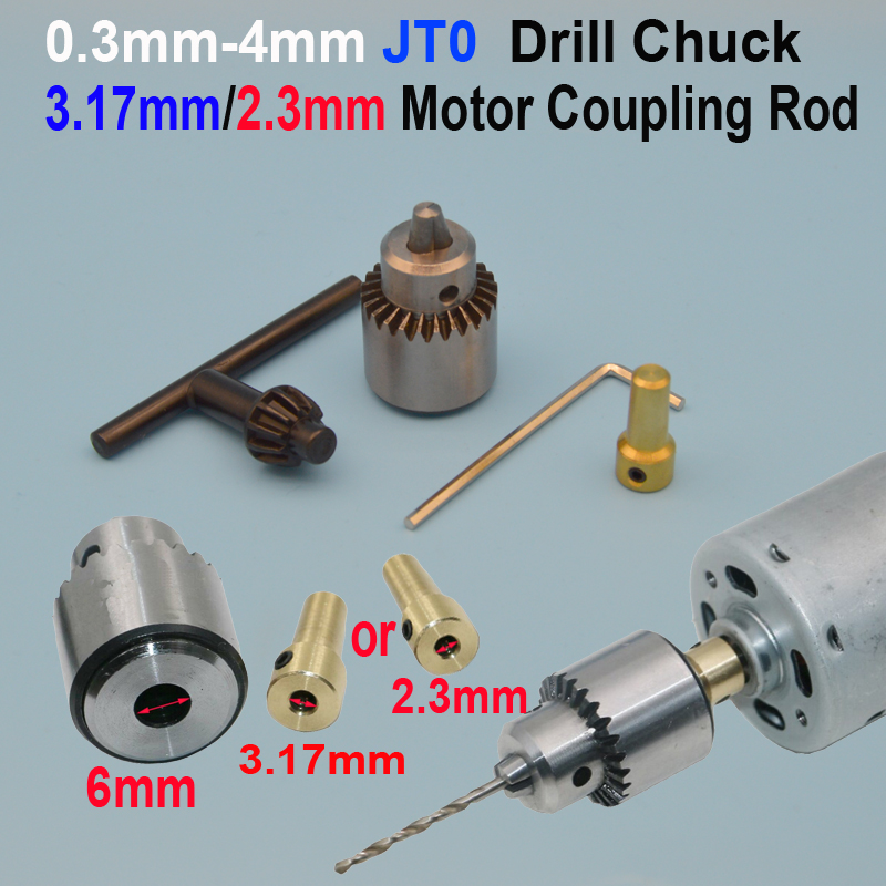 цена на Micro Motor Drill Chucks Clamping 0.3-4mm Jt0 Taper Mounted Drill Chuck With Chuck Key 3.17mm or 2.3mm Mini Electric Motor Shaft