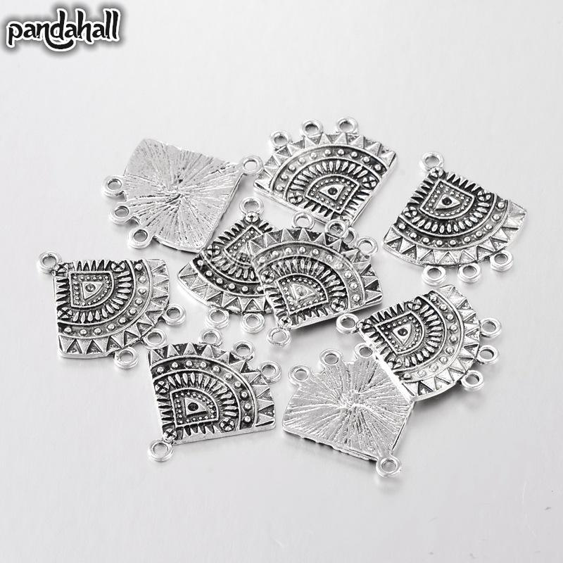 Alloy Dangle Chandelier Component Links, Lead Free and Cadmium Free, Fan, Antique Silver Color, 26x24x1.5mm, Hole: 2mm
