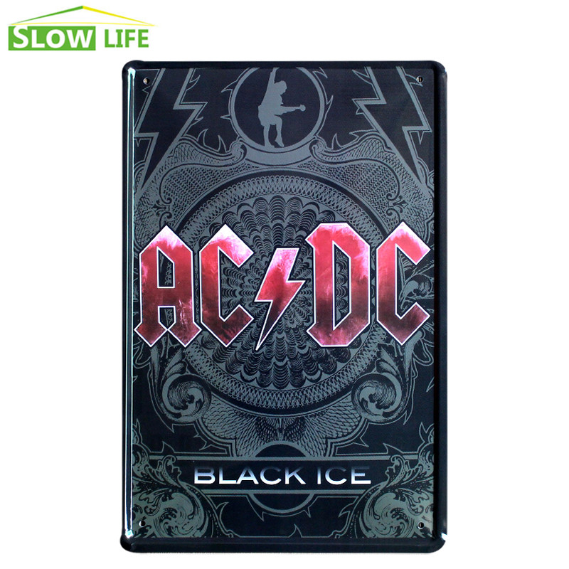ACDC Black Ice Metal Tin Sign Pub Bar Wall Decor Tin Sign Vintage Home Decor Metal Plaque Cool Metal Plate Retro Metal Poster