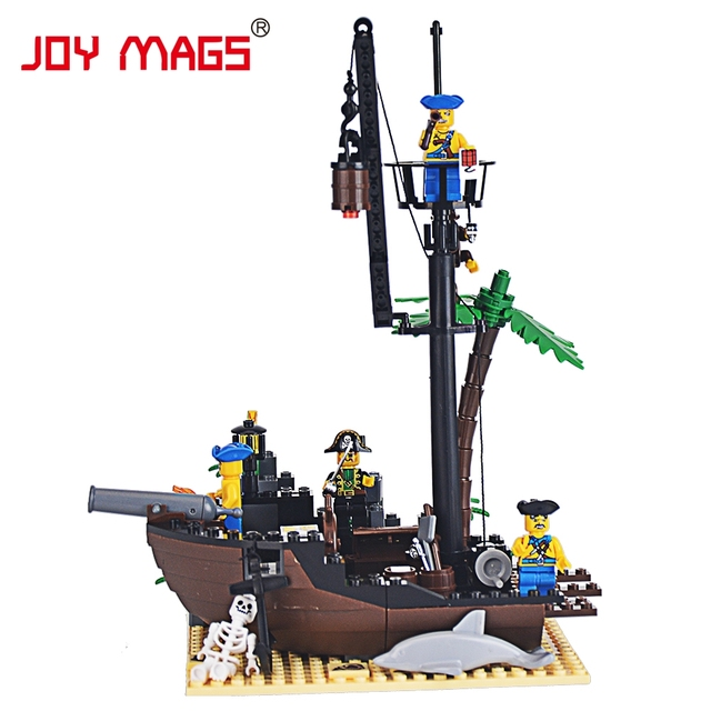 JOY MAGS 306 Pirate Ship Scrap Dock Building Blocks Compatible all brand DIY Construction Bricks Christmas gift