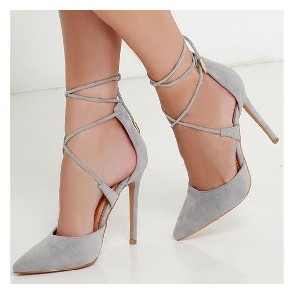 Grey Strappy Heels Closed Toe Stiletto