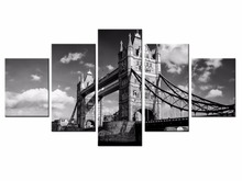 Fashion Framed Wall Decorations 5pcs / Set Modern Mural New York Bridge Canvas Print Artist Decoration/XC-city-158