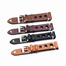 Купить с кэшбэком Vintage Watch Strap Genuine Leather Watchband Bands Bracelet Replacement for Watches Men Watch Belts 18mm 20mm 22mm 24 mm KZ3H06