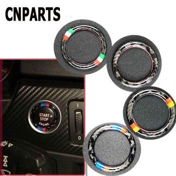 CNPARTS For BMW 3 Series E90 E92 E93 Z4 E89 Car Styling Center Console Start Stop Engine Knob Key Rings Carbon Fiber Stickers image