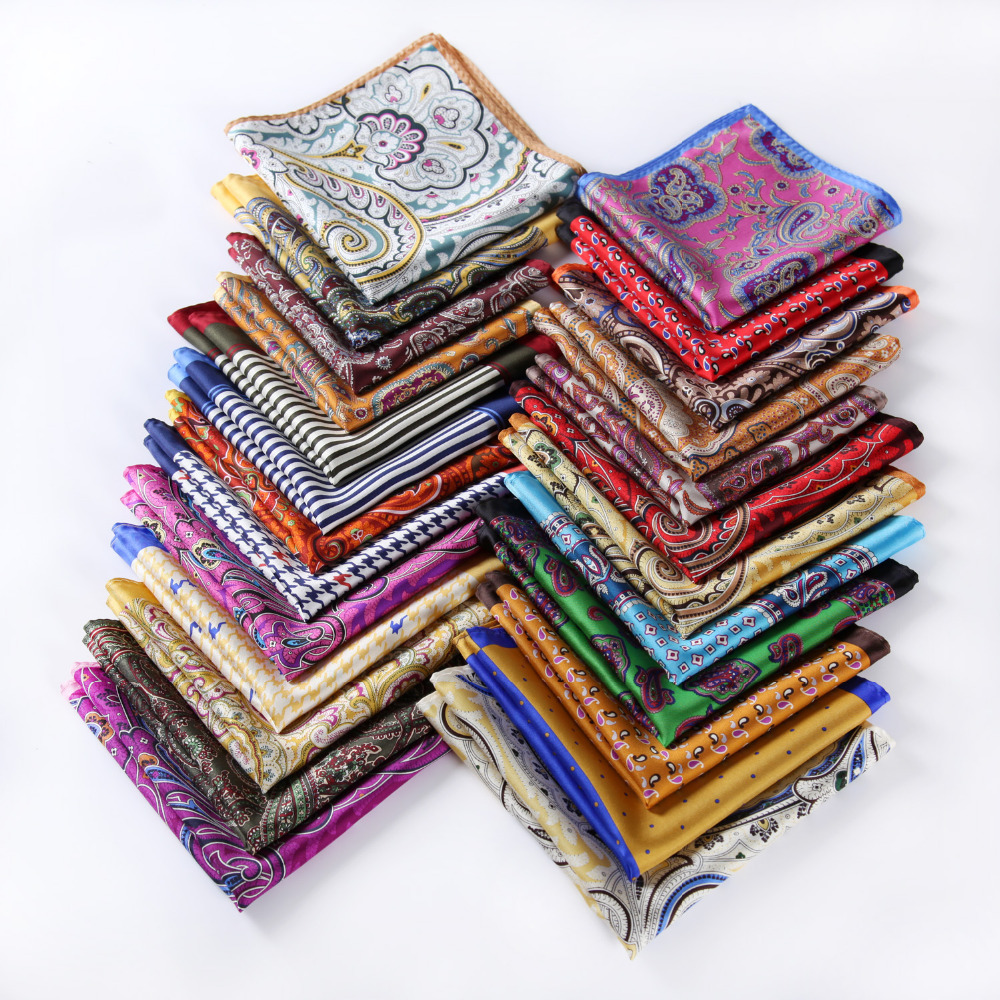 Handkerchief 100% Natural Silk Satin Mens Hanky Fashion Classic Wedding Party Pocket Square #A9