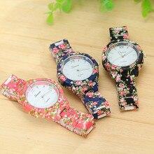 New Fashion Design Pattern Plastic Flower Band Quartz Watch