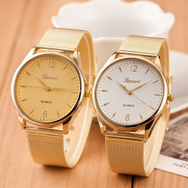 11f7cf8aad53 Reloj de pulsera de acero inoxidable de cuarzo Geneva de oro clásico para  mujer de moda