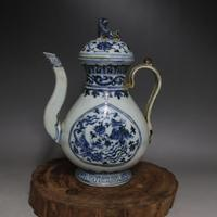 Antique Old Chinese porcelain teapot,Blue&white bottle,handmade crafts,Home Decorations collection & adornment, Free shipping