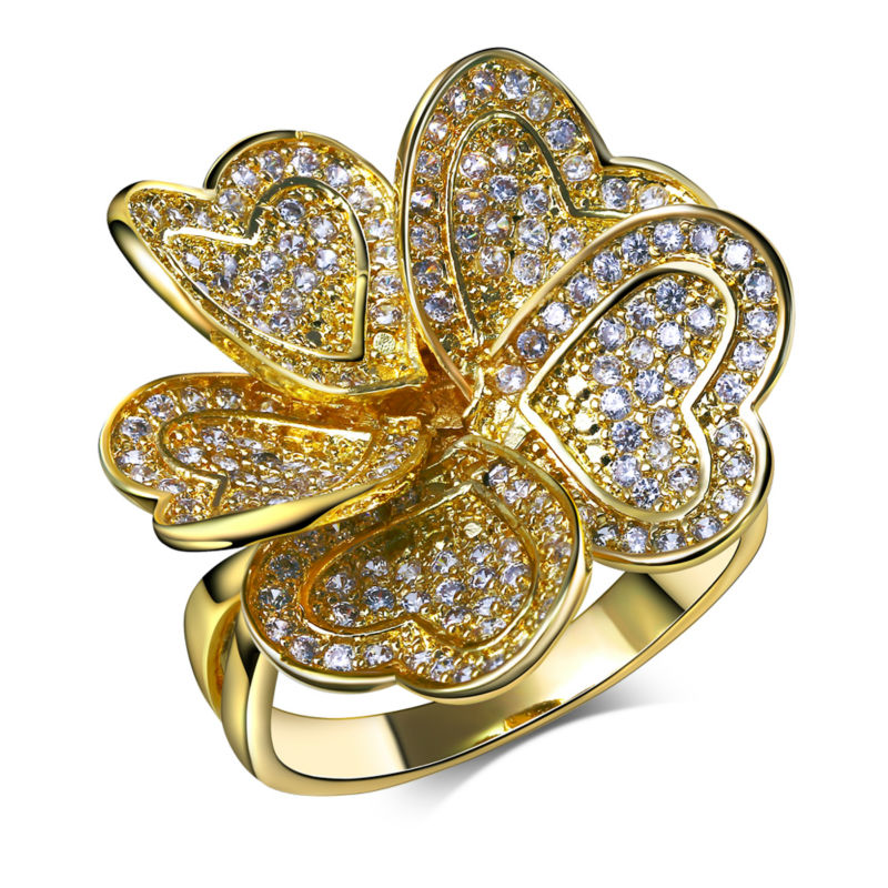Very nice Flower Blossom shape Fashion Heart Shape Petals Valentine gift Lover jewelry Hot Copper Zirconia Stones Finger rings