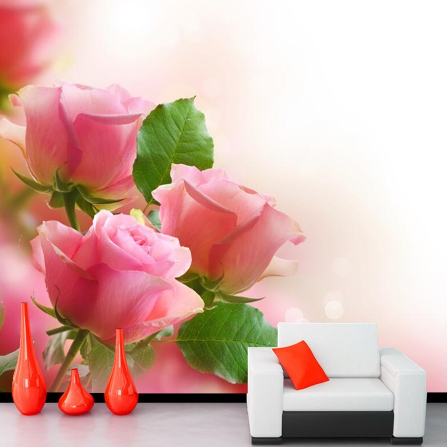 Beautiful fresh pink rose wallpaper papel de parede, hotel living room sofa TV wall bedroom 3d custom murals flower wallpaper custom 3d murals cartoon wolf papel de parede hotel restaurant coffee shop living room sofa tv wall children bedroom wallpaper