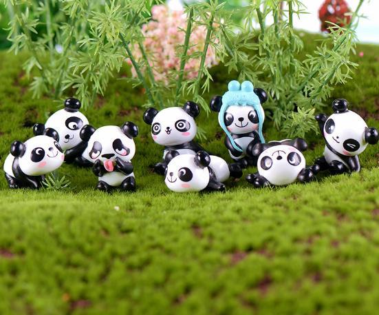 Details about  /8pcs Miniature Panda Dollhouse Fairy Garden Bonsai Pot DIY Decor Craft Bear