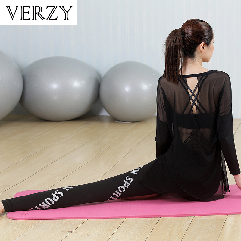 2018 New Women Yoga Set Elastic Sport Suit Jackets+T-Shirts+Sports Bras+Pants 4 Pieces Gym Clothing Breathable Mesh Back Fitness