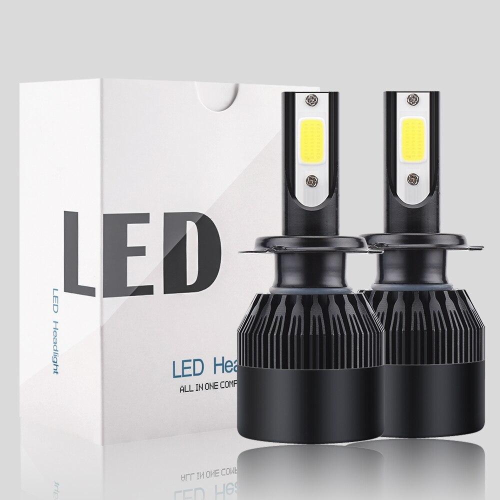 2 pcs Car Led Headlight Bulbs Lamp H4 H7 H11 72W/pair H8 HB4 H1 HB3 Auto Car High Low Beam 6000K 12V Head Light C6 16000Lm