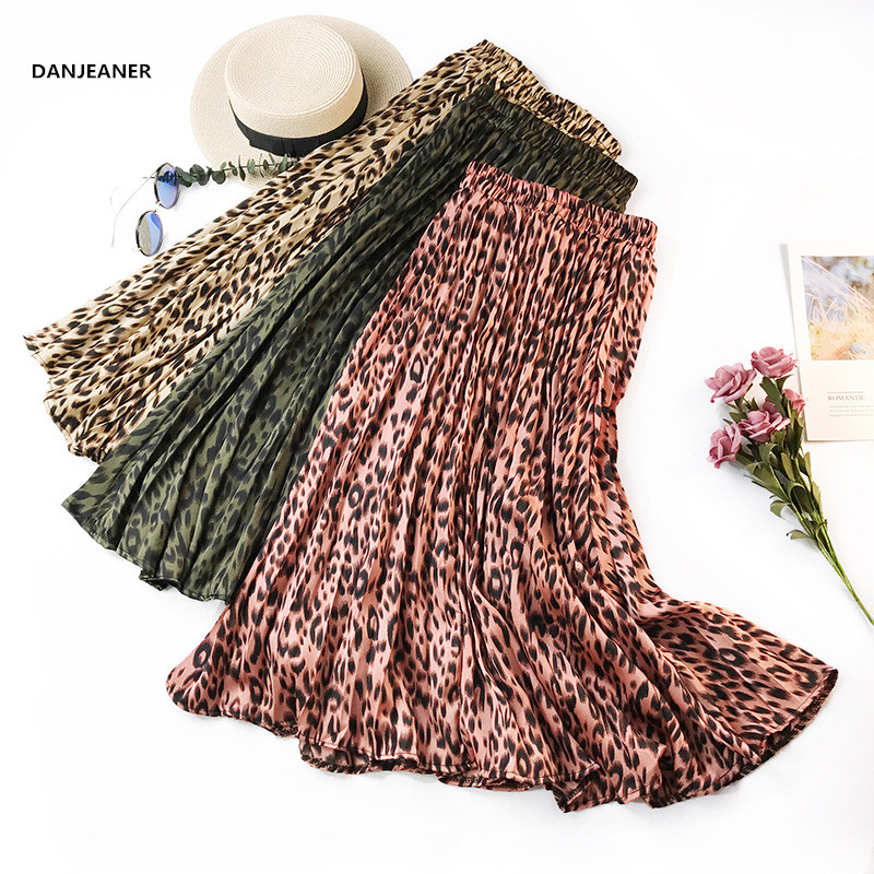 DANJEANER Retro Leopard Print Pleated Skirts Women New Midi Long Korean Elegant High Waist A-line Sun Skirt Female Casual Skirts