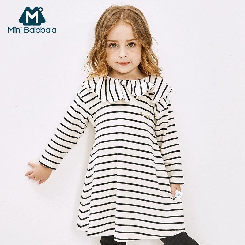 Image 2 - MiniBalabala Kids Girls Striped A line Dress Flounced Children Toddler Girls Graphic Dresses with Flounce Collar Long Sleeve-in Dresses from Mother & Kids