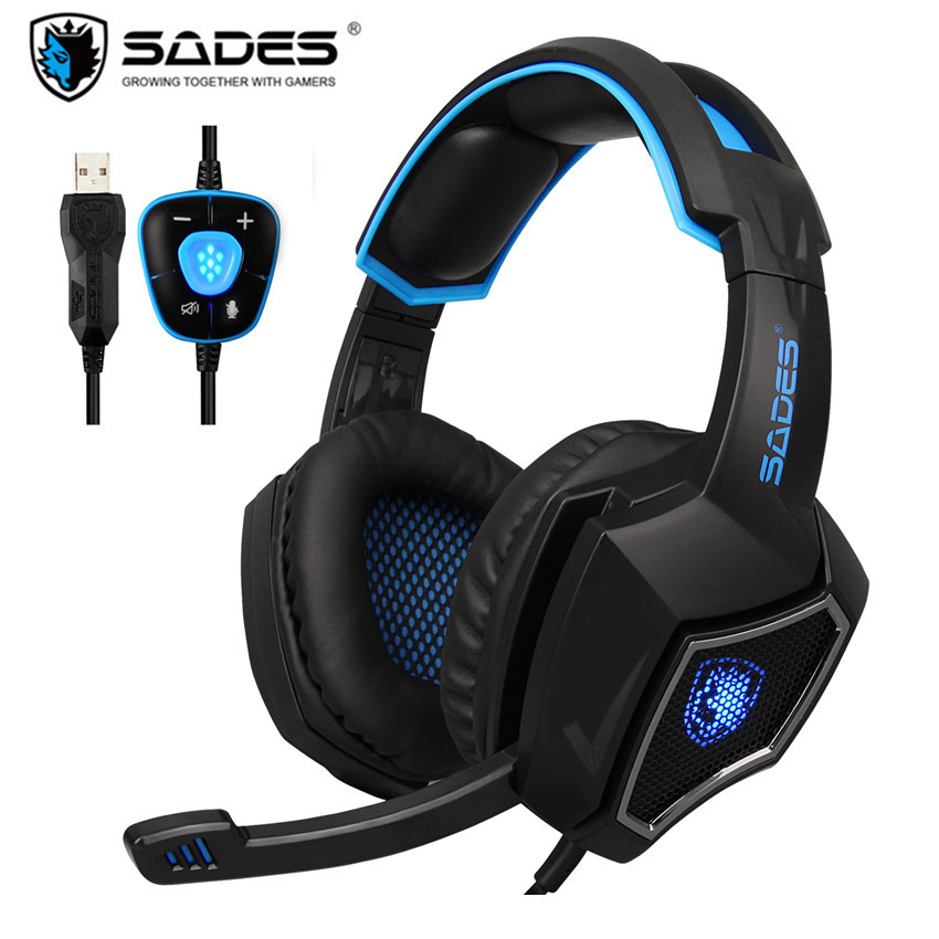 Sades Spirit Wolf USB 7.1 Stereo Gaming Headphones with Microphone LED For Computer Laptop Bass Casque PC Gamer Wired Headset ovleng q8 usb wired stereo headphones w microphone white red black