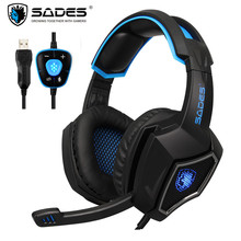 Sades Spirit Wolf USB 7.1 Stereo Gaming Headphones with Microphone LED For Computer Laptop Bass Casque PC Gamer Wired Headset