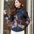 Mujeres de la Chaqueta 2015 Escudo Nueva Moda de Invierno Pato Abajo de la Impresión Floral Delgado Cremallera A Prueba de Frío Abajo de la Capa