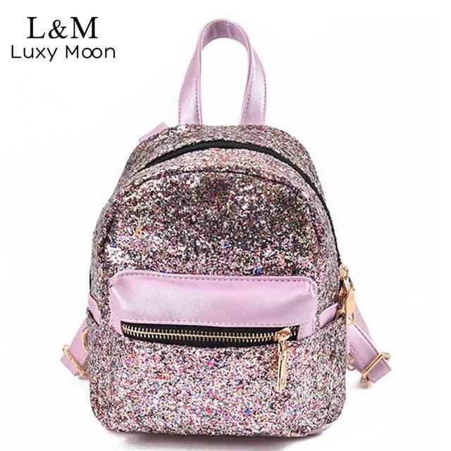 64449bcf87d1 Для женщин блеск рюкзак небольшая кожаная сумка для девочек-подростков  черные рюкзаки модные блестящие рюкзак