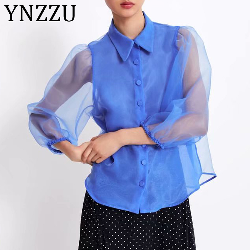 YNZZU Chic See Through Organza Women Blouse Shirt 2019 Autumn Turn Down Collar Buttons Female Blue Tops Streetwear AT268