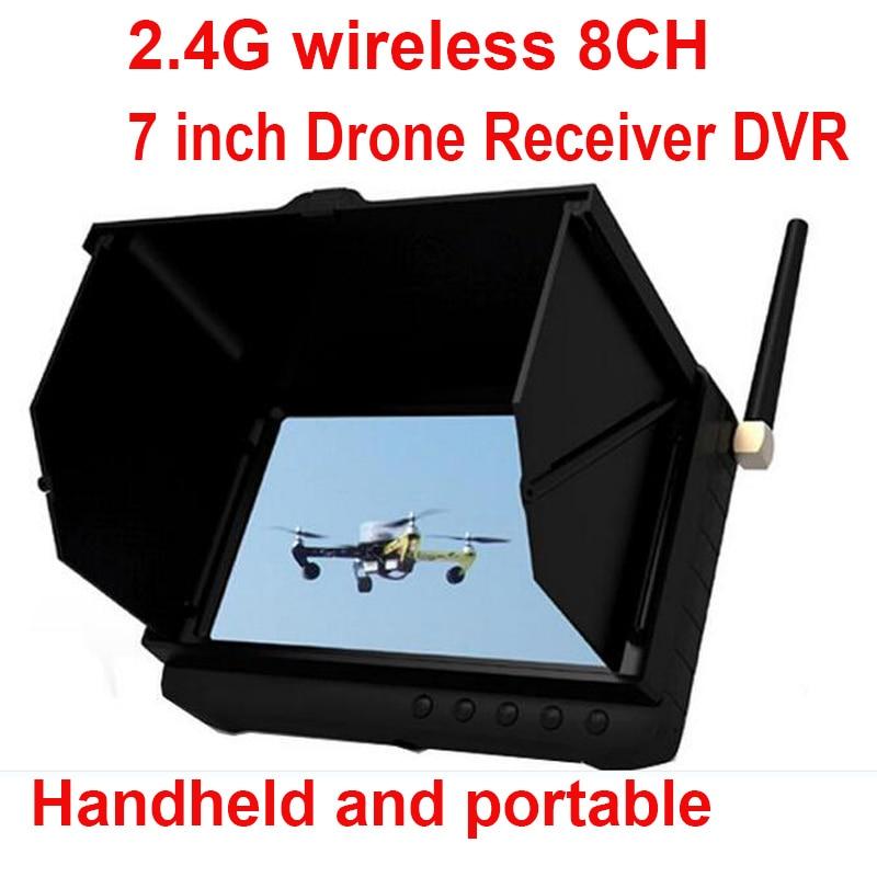 "8CH 2.4G FPV wireless receiver 5"" LCD display monitor FPV DVR wireless 2.4G CCTV camera receiver monitor drone receiver FPV DVR"