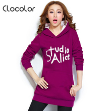 Clocolor Autumn Winter Warm Hoodies for Women Letter Printed Hooded Sweatshirt Full Sleeve Long Women Casual Tracksuit
