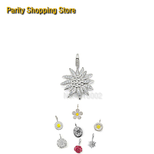 PT1644 Pave Edelweiss-стиль глэм и украшения для души 2015 Ts подарок из стерлингового серебра браслет влюбленных Роза кулон Хризантема