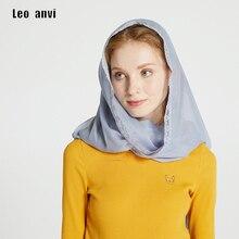 Leo anvi Chiffon di seta anello sciarpa Donne Velo di pizzo Fascia Copertura Mantilla Latin Massa Solido Infinity hijab Musulmano