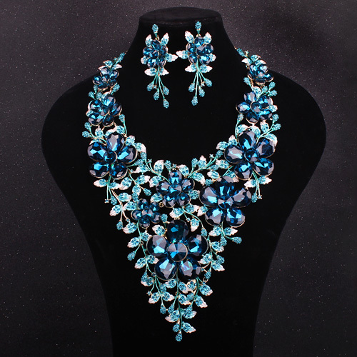 Luxury Bridal Jewelry Sets Gold Plated BLue Crystal Big Statement Necklace Earrings Wedding Prom Party Accessories Brides Women - Maynice (Factory Direct store)