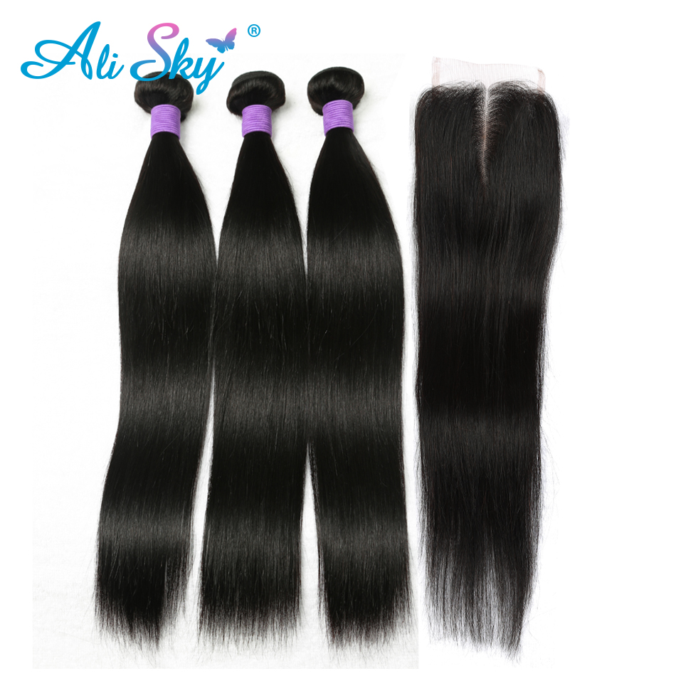 HTB1kEDqXrWi31JjSZJiq6zRspXag Ali Sky Peruvian Straight Human Hair 3 Bundles with 1pc Lace Closure 4x4 Middle/Free/Three Part Remy no tangle no shedding