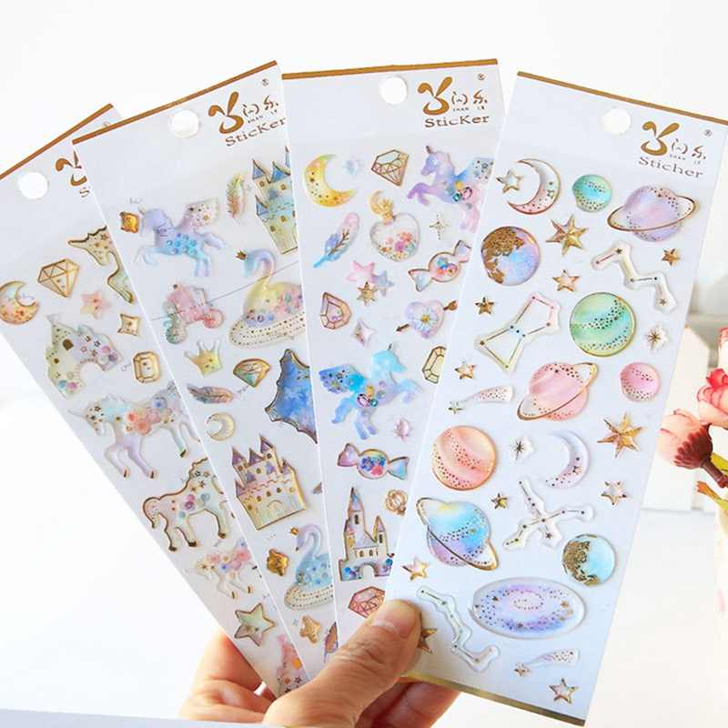 Lindo unicornio Castillo planeta etiqueta pegatinas decorativas papelería artesanía Scrapbooking DIY diario álbum Stick etiqueta
