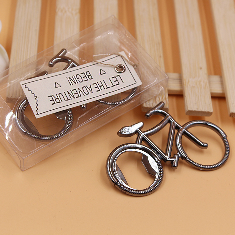Wholesale 100pcs/lot zinc alloy bicycle beer opener favors in gift box, wedding party giveaway goods for table decoration gifts