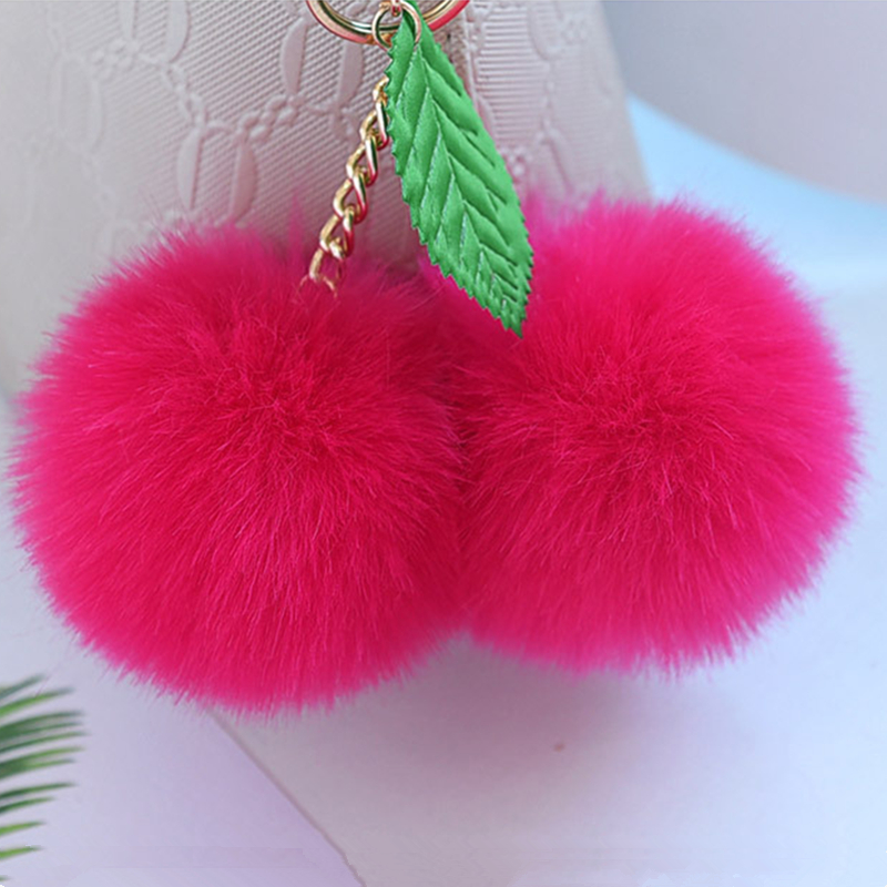 Fluffy 8cm Faux Rabbit Fur Ball Pompom Gold Chain Cherry Key Ring - Bisutería - foto 4