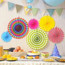 6pcs set paper fan backdrop decoration flower wedding birthday baby shower party hanging decorations DIY decor supplies