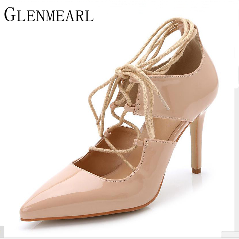 2016 Spring Fashion Brand Patent Leather Women Pumps Pointed Lace High Heels Shoes Black Red High