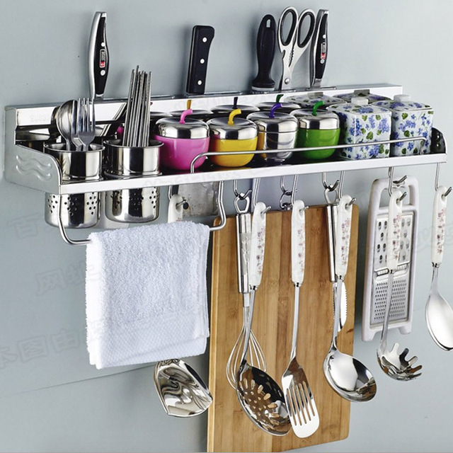 304 Stainless Steel Kitchen Rack, Kitchen Shelf, Cooking Utensil Tools Hook  Rack, Kitchen